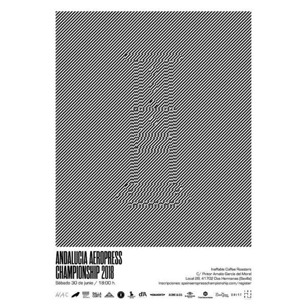 Cartel AeroPress 2018. Regional Andalucía 2018. Enmarcado - Blanco & Negro. Papel Verjurado 110gr.AeroPress Poster 2018. Framed – White & Black. Laid paper 110gr.