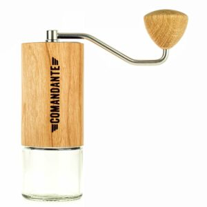 Comandante Hand Grinder is a powerful, hand coffee grinder, with an advanced conical burr set design with a stainless steel body and high-nitrogen martensitic steel burrs.